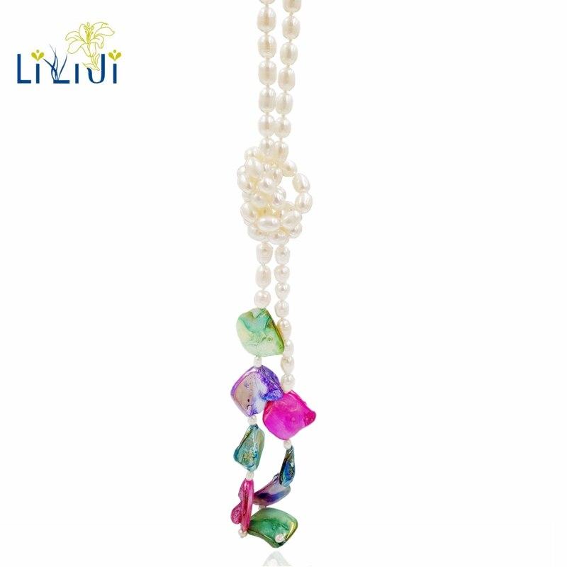 Lii Ji D'eau Douce Perle Multi Couleur Shell Perle Long Collier 143 cm