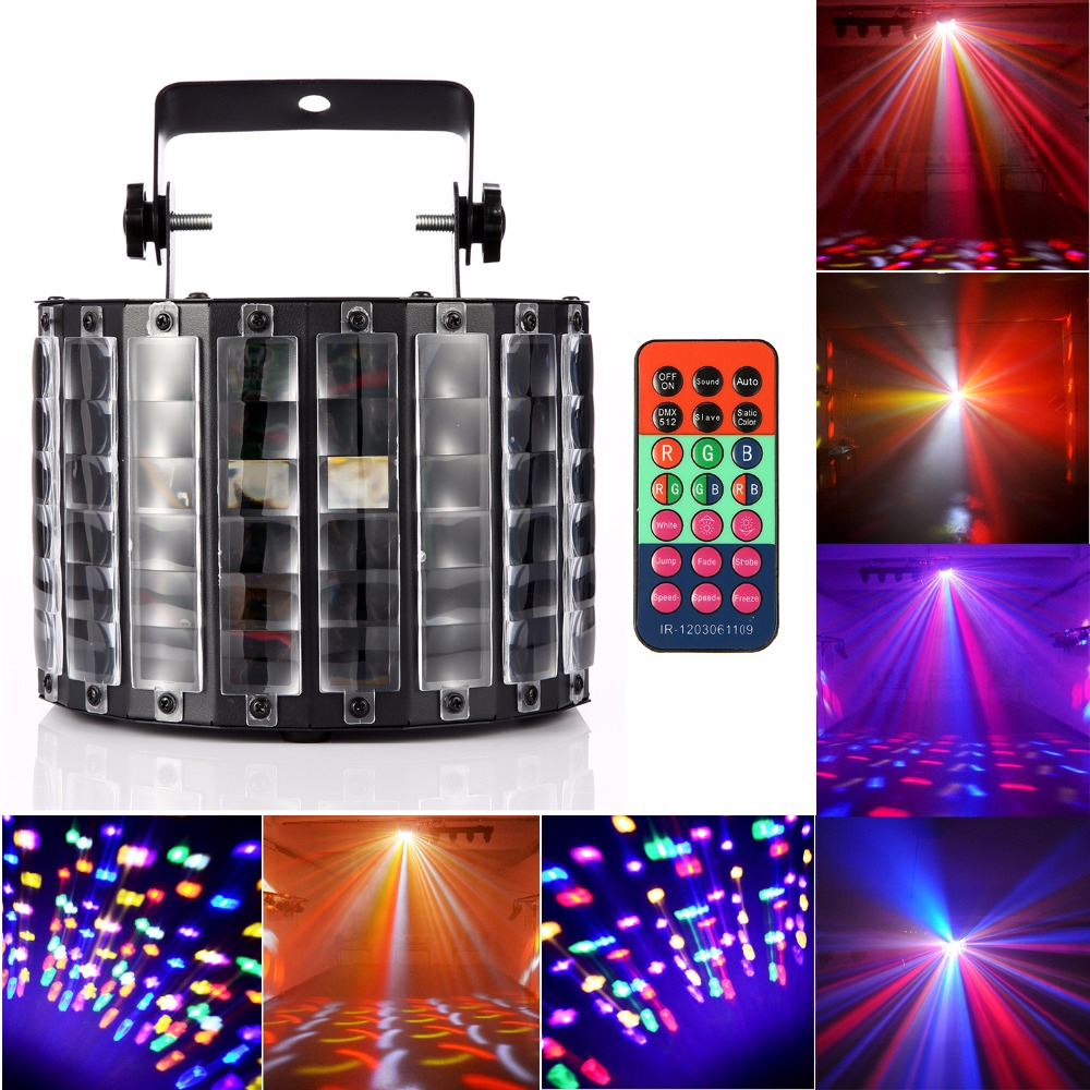 30W 9LED Stage Butterfly Light Perfect Decorations for Bar, Party, Stage, Wedding (Black) + Remote Control