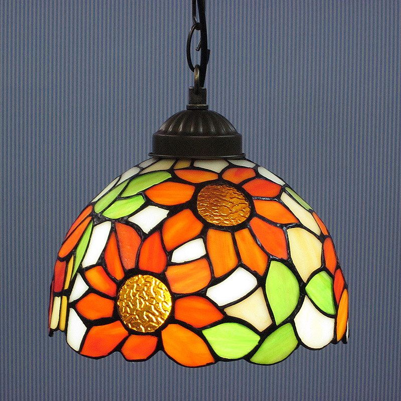 8inch European style  sun flower tiffany pendant light stained glass hanging lamps balcony corridor hallway Droplight lighting 12 inch simple european style modern restaurant droplight tiffany glass lighting mahjong table mediterranean balcony lamp