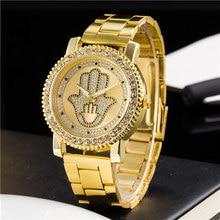 2017 Women quartz watch Fashion Luxury Ladies Gold Steel Watch Geneva Casual Crystal Rhinestone Wristwatches  Relogio Feminino