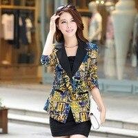 Free Shipping New 2015 Spring Blazer Women Fashion Temperament Printing Suit One Button Slim Ladies Blazers