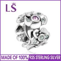 LS di Alta Qualità 925 Sterling Silver Distanziatore Del Fiore Perline Di Cristallo Adatta Per Bracciali Gioielli FAI DA TE Marcatura Originale