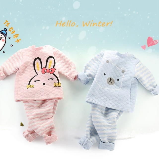 49a1256f054 Baby s Sets Autumn Clothes Baby Warmth Thickening High Waist Design Belly  Pants Suit Cotton Cartoon Kids