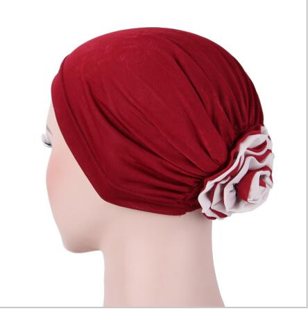 2017 NEW 5pcs/lot women Padded Folded turban cap head wrap Georgette Flower Headcover for Cancer Chemo Hair Loss cap viruses cell transformation and cancer 5