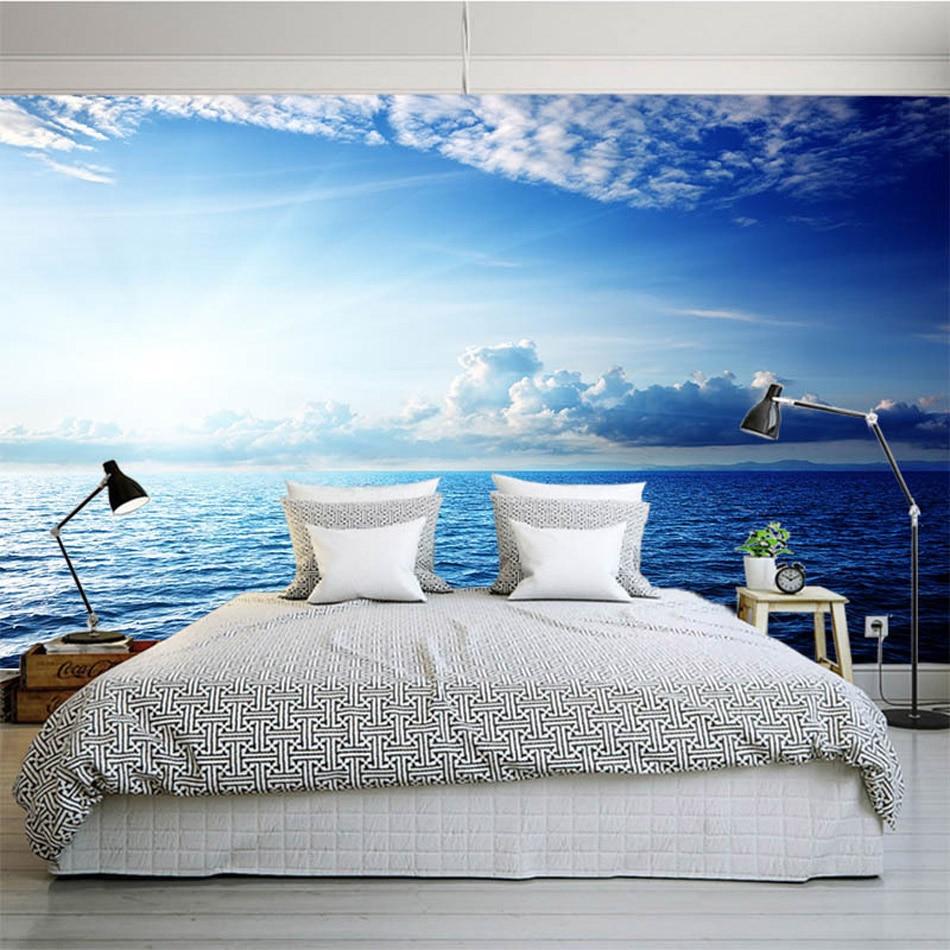 online get cheap diy wall murals aliexpress com alibaba group blue sky seaside cloud diy nature wallpaper 3d