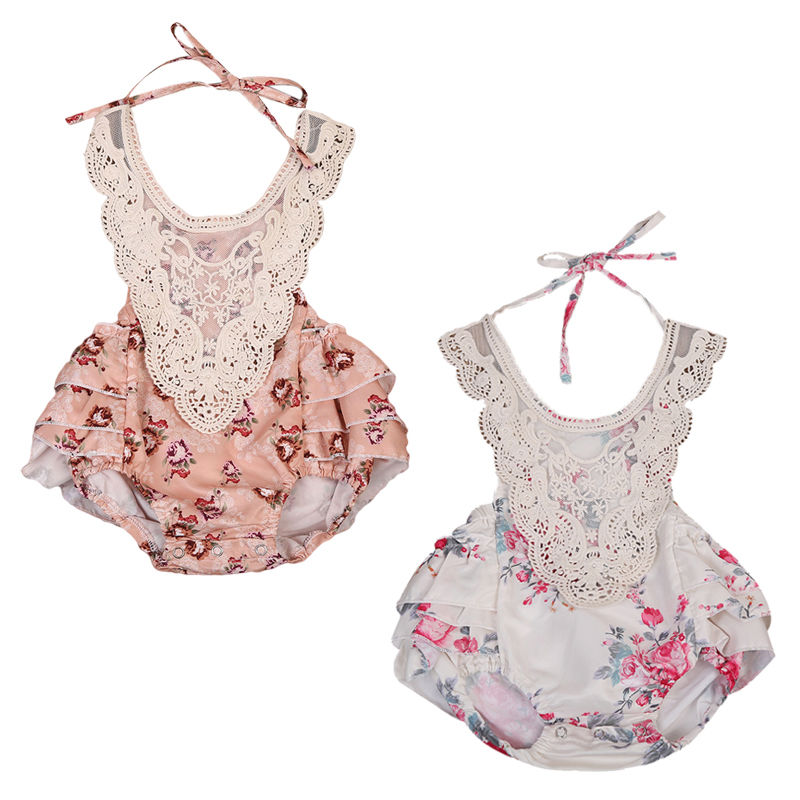 2017 New Cute Infant Baby Girl Floral Lace Romper Sleeveless Backless Ruffles Skirted Jumpsuit One Pieces Sunsuit Kids Clothes cute newborn infant baby girl clothes set girls romper letter printed bodysuit floral tutu skirted bloomers short outfit sunsuit