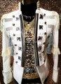 Блестки темно-смокинг костюмы ночной клуб шоу Большой размер S-4XL мужская белый верхняя одежда певец DJ DS танец этап пиджак