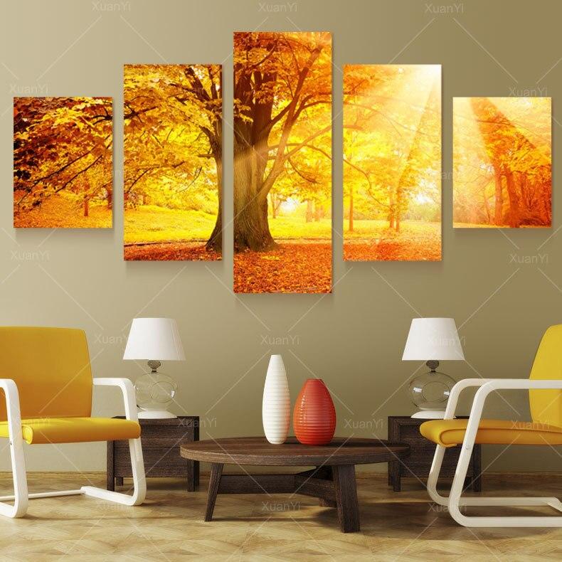 Buy 5 panel modern tree paintings cuadros - Pinturas de paredes modernas ...