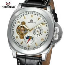 FSG005M3S8 Новое прибытие Автоматическая мужские часы с черным кожаный ремешок мода аналоговые часы подарочная коробка бесплатная доставка