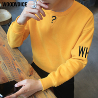 Woodvoice Brand Clothing 2017 Men S Fashion Streatwear Fleece Pullover Top Quality Korean Style Printed Youth