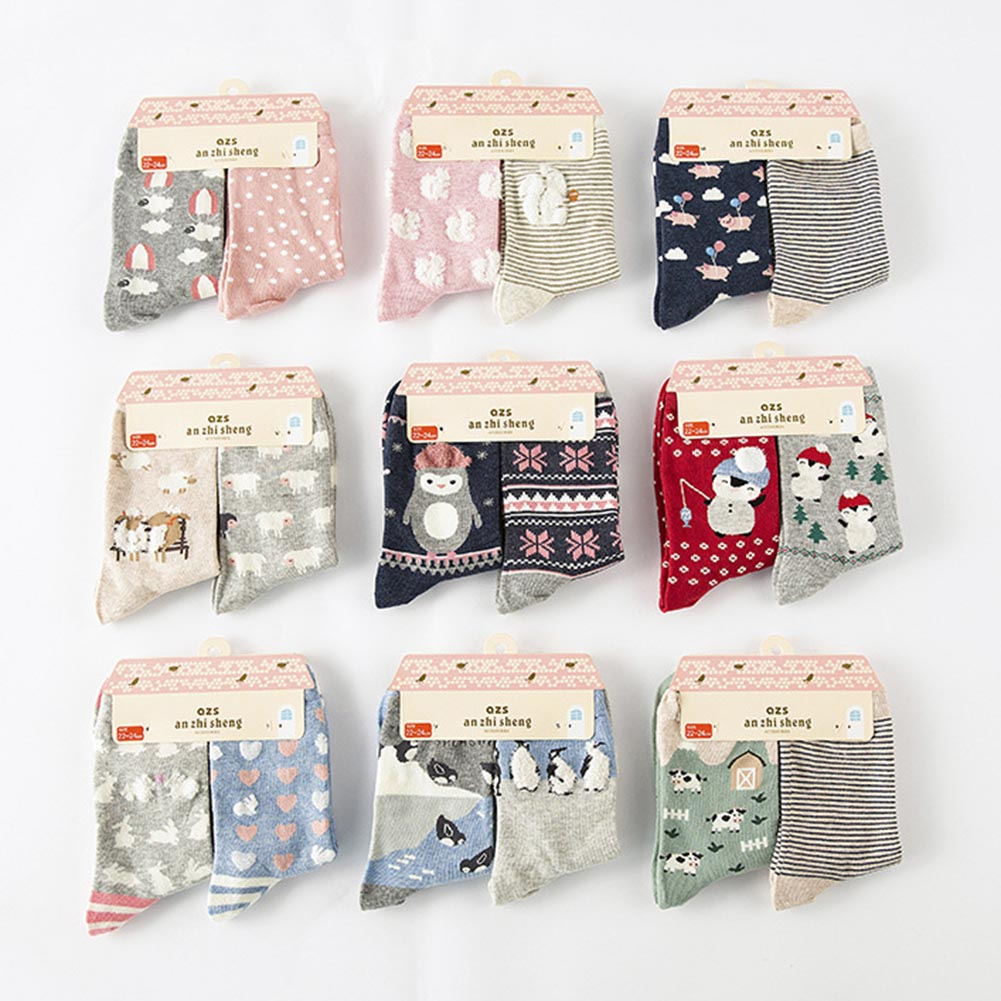 2 Pairs Lovely Story Sock Cartoon Animal Pattern long cotton Socks Women Girl Female Creative Cute Soft Winter Autumn Sock Mieas