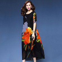 Spring and summer new style Large size M-4XL Loose mid-length dress Round neck printed chiffon