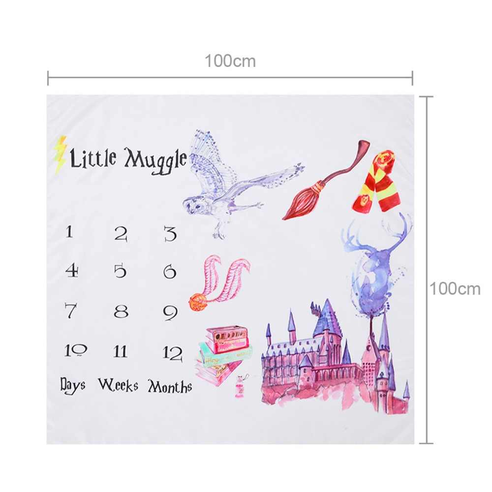 Little Muggle Fantasy Castle Baby Monthly Milestone Blankets Newborn Swaddle Wrap Bathing Towels Photography Props Sheet Cover