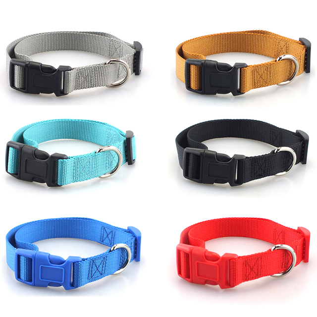 Pet Dog Collar Classic Solid Basic Polyester Nylon Dog Collar with Quick Snap Buckle, Can Match Leash & Harness