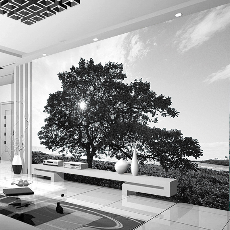 Custom Photo Wallpaper Modern Simple Black And White Tree Landscape Wall Mural Living Room TV Sofa Backdrop Murales De Pared 3D custom photo wallpaper modern style simple white rose as living room sofa background 3d mural wall paper on the wall