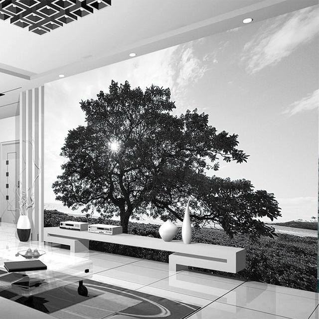 personnalis photo papier peint moderne simple noir et blanc arbre paysage murale salon tv. Black Bedroom Furniture Sets. Home Design Ideas