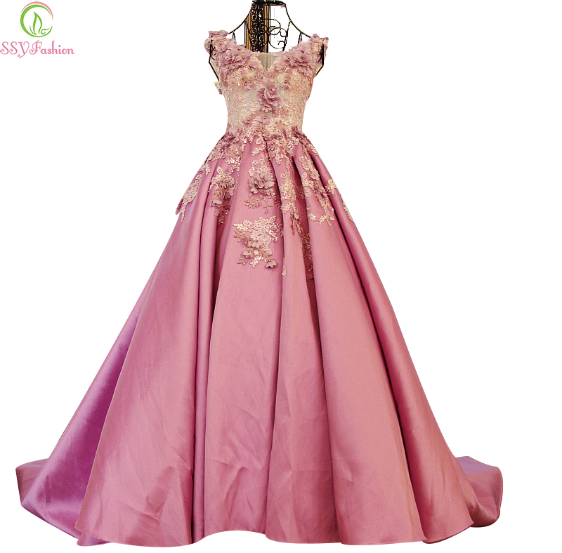 SSYFashion Long Evening Dress 2017 Bride Princess Luxury Light Purple Satin Lace Flower With