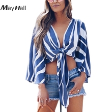 MayHall Patchwork Open Stitch Shirt Bowknot Tie up Tops Summer Crop Top Women Camiseta Feminina blusas mujer de moda 2018 MH264