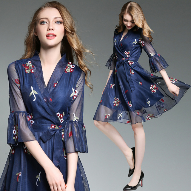 b6692ddb12b0 2017 summer women embroidery flare sleeve dress V-neck sexy wedding guest  party dresses floral nice for ladies junior