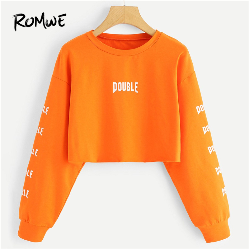ROMWE Orange Letter Print Crop Sweatshirt Women Casual Autumn New Design Round Neck Long Sleeve Clothing Spring Female Pullover silk