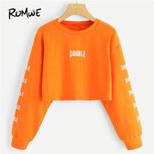 ROMWE Orange Letter Print Crop Sweatshirt Women Casual Autumn New Design Round Neck Long Sleeve Clothing Spring Female Pullover