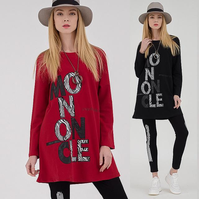 Envío ship2017 Primavera de algodón mujeres camiseta larga impresa letra femenina extremo partido larga tees camiseta básica más tamaño ocasional tops6081