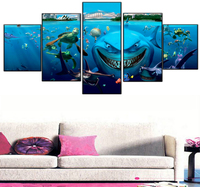 5 Pieces The shark Blue Sea Canvas Print Poster Game wall art canvas painting Wall Pictures For living room Modern Wall Painting