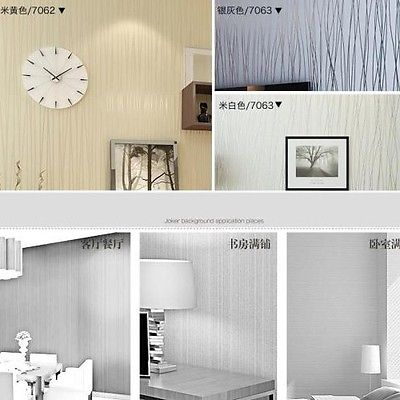 ФОТО Q QIHANG Non-woven Classic Flocking Plain Stripe Modern Fashion Wallpaper 3 Colors 0.53m*10m=5.3m2