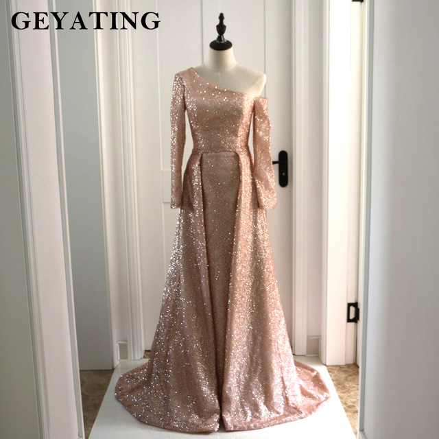84f9c4f2a68a4 US $140.25 25% OFF|Arabic Long Sleeves Evening Formal Dresses with  Detachable Skirt One Shoulder Bling Rose Gold/Champagne Sequin Prom Dress  Dubai-in ...
