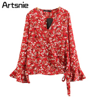 Artsnie Red Boho Floral Print Sexy Deep V Neck Blouse Women Spring 2018 Flare Sleeve Tops