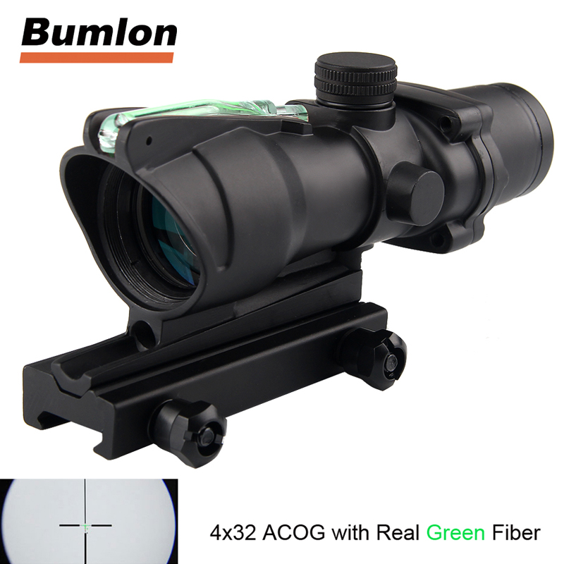 Tactical Hunting Rifle Scope Optic Sight Airsoft ACOG 4X32 Airsoft Scope Real Green Red Fiber Riflescope For Shooting 6-0006