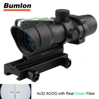 Tactical Hunting Rifle Scope Optic Sight Airsoft ACOG 4X32 Airsoft Scope Real Green Red Fiber Riflescope
