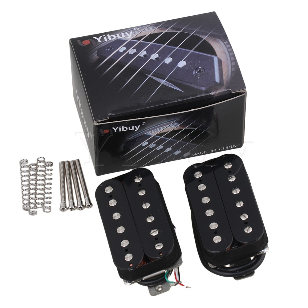 Yibuy 2Pieces Black Double Coil Humbucker Pickups w Silver Magnetic Column