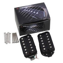 Yibuy 2Pieces Black Double Coil Humbucker Pickups w/ Silver Magnetic Column
