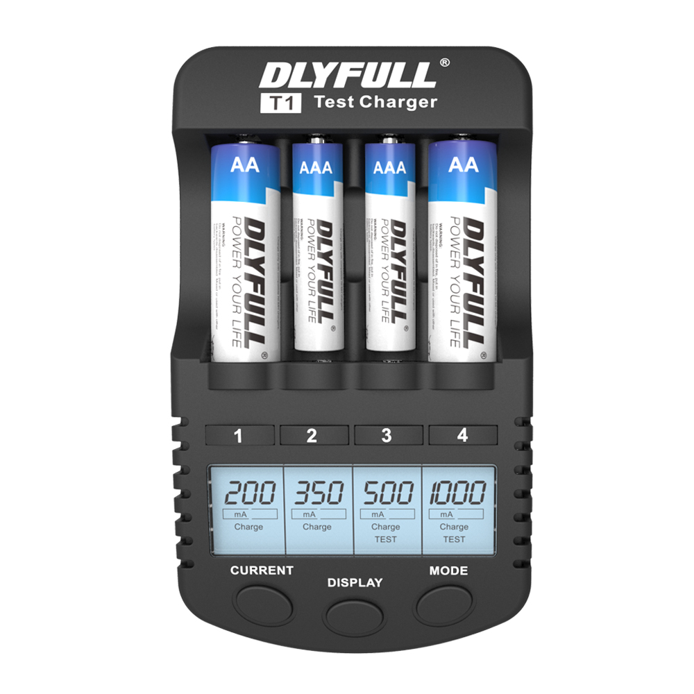 DLYFULL T1 Battery Chargers for AA Batteries LCD NiMH NiCD 1.2v Smart AA AAA Charger USB carregador de bateria inteligente EU 4