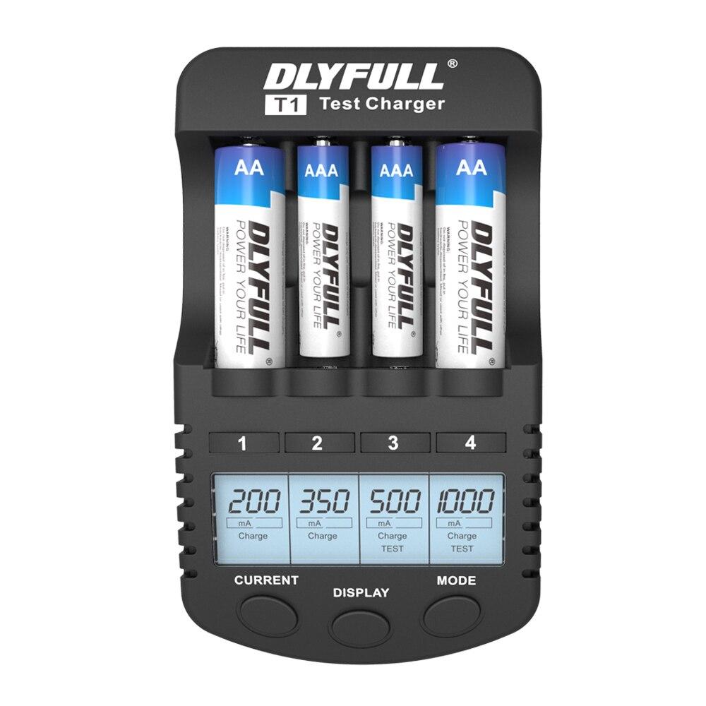 DLYFULL T1 cargadores de batería para pilas AA LCD NiMH NiCD AA AAA cargador pila recargable cargador de batería inteligente USB