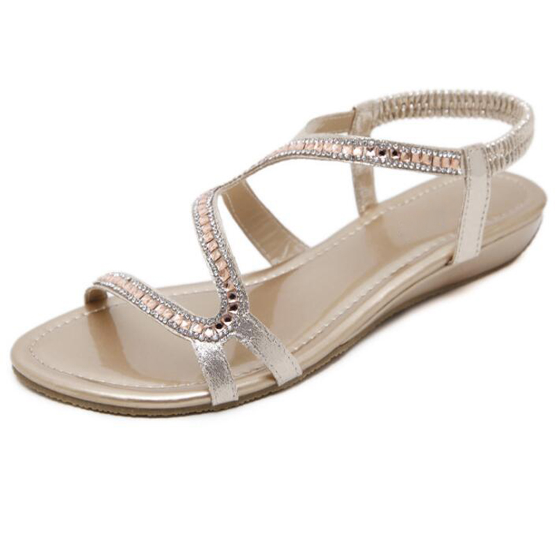 COVOYYAR European Crystal Women Sandals 2018 Summer Gladiator Rhinestone  Wedges Ladies Sandals Elastic Band Golden Shoes WSS937-in Women s Sandals  from ... dd620c639ba6