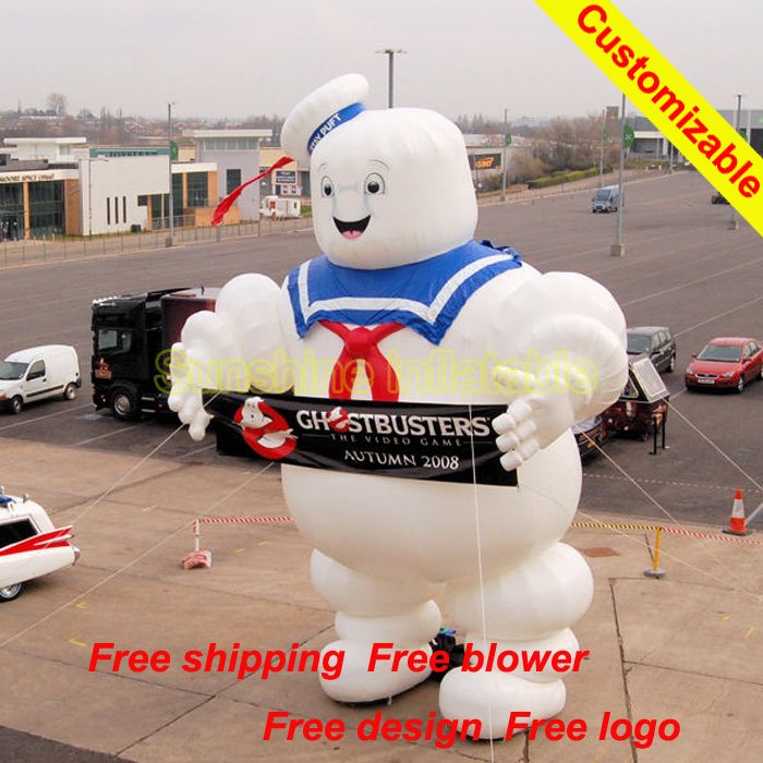 Customize giant outdoor 5m high inflatable Ghostbusters Stay Puft Marshmallow Man with blower for advertising
