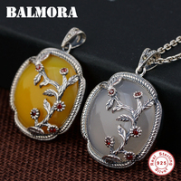 BALMORA 925 Sterling Silver Delicate Flower Pendants for Women Lover Vintage Jewelry Accessories Gift Without a Chain MN12019