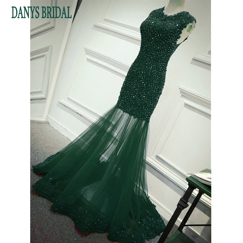 Emerald Green Long Lace Mermaid Prom Dresses for Girls Womens Party ...