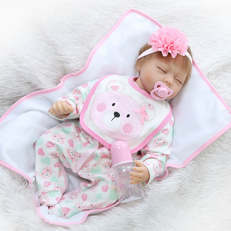 Cotton Body Reborn Babies Little Girls Princess Toys For Girls Cute Lifelike Sleeping Baby 100 Reborn Doll Newborn Silicone Baby little cute flocking doll toys kawaii mini cats decoration toys for girls little exquisite dolls best christmas gifts for girls