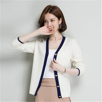 100%wool solid knit women Vneck slim short single breasted cardigan sweater white 4color S 2XL