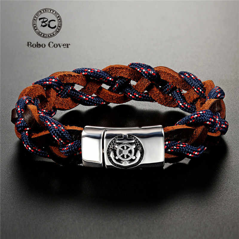 2019 Fashion Braided Multilayer Geunine leather Bracelet Men Women Stainless Steel Outdoor Navy Anchor Survival Bracelets homme