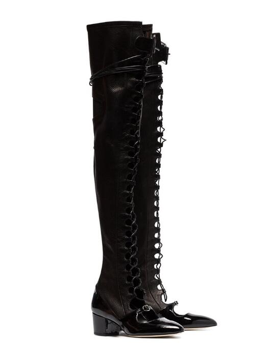 New Designer Black Leather Thigh High Boots Round Toe Lace-up Cut-out Square Heel Ridding Boots Sexy Over Knee Boots Womens