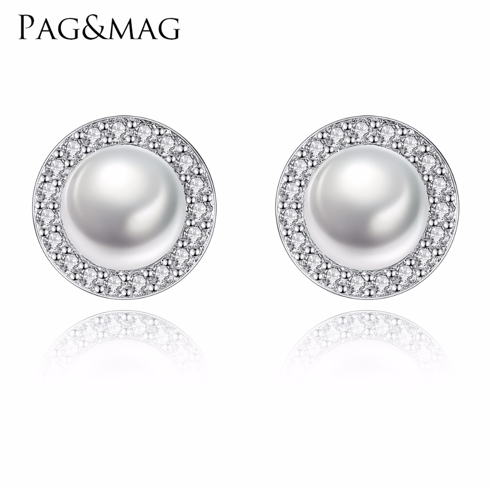 PAG&MAG High Quality Solid Silver Jewellery Women 100%Natural Freshwater Pearl Stud Earrings Jewelry Wedding Small Round Earring