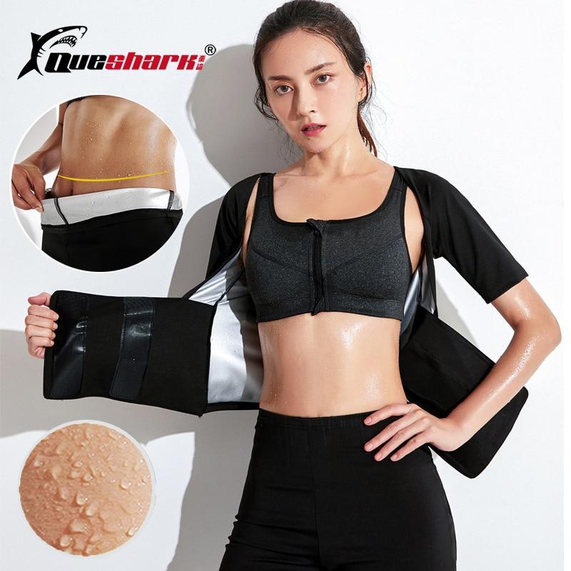 Corset Sweat-Suit-Set Shapewear Shorts Weight-Loss-Shirt Running-Jacket Fitness Fast-Sweating