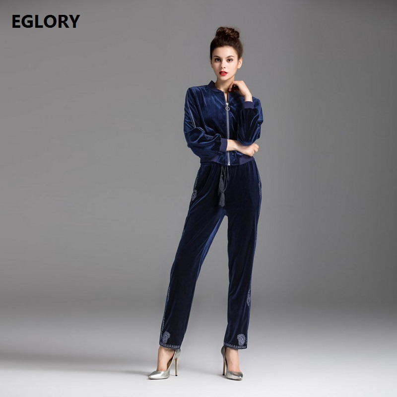 2017 Autumn Winter Clothes Women Set 2 Pcs Lurex Embroidery Casual Velour Jacket Coat+Full Length Velvet Pant Set New Tracksuits