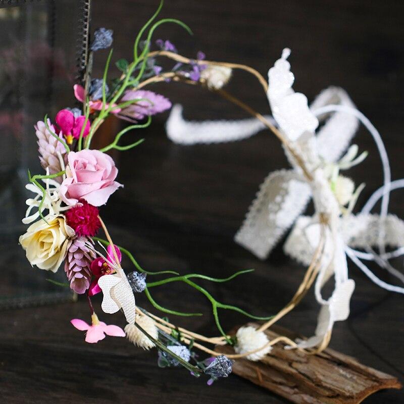 Novo 2018 Artesanal De Noiva Dama de honra Guirlanda Flor Acessórios Do Casamento Criança