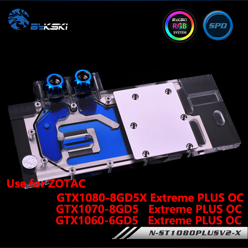 BYKSKI Full Cover Graphics Card Water Cooling GPU Block use for ZOTAC GTX1080/1070/1060-8GD5X Extreme PLUS OC with RGB Light 2pcs lot video cards cooler gtx 1080 1070 1060 fan for msi gtx1080 gtx1070 armor 8g oc gtx1060 graphics card gpu cooling