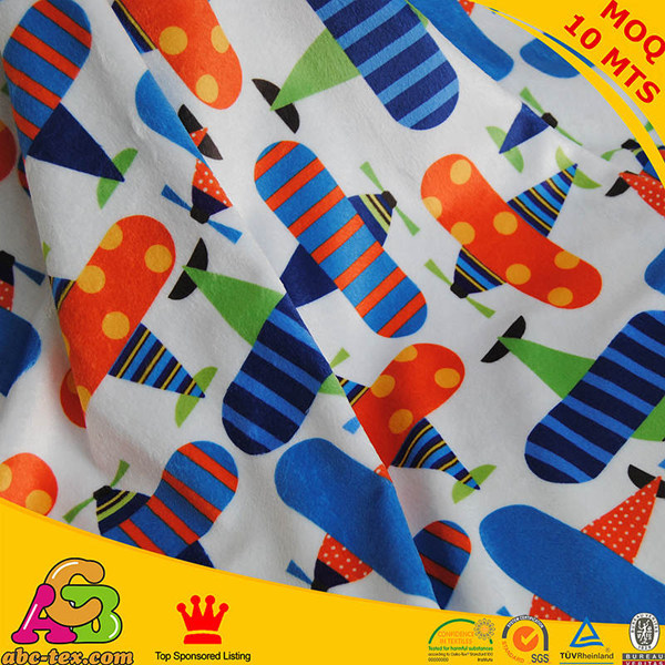 New Cartoon Airplane Printed 100 Polyester Fabric For